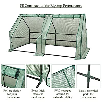 CO-Z Portable Greenhouse Mini Hot House with PE and Non-Woven Cover, Waterproof Cloche Greenhouse and UV Protected Greenhouse Tent, 5.9' L x 3.0' W x 3.0' H. from CO-Z