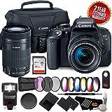 Canon EOS Rebel T7i DSLR Camera 18-55mm Lens 1894C002 + Canon 55-250 STM Dual Lens Camera Pro + Bundle