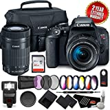 Canon EOS Rebel T7i DSLR Camera 18-55mm Lens 1894C002 + Canon 55-250 STM Dual Lens Camera Pro + Bundle