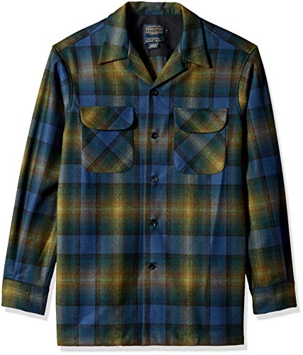 Pendleton Men's Classic Fit Long Sleeve Board Shirt, Green/Navy Ombre, LG