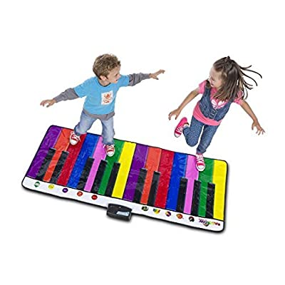 HearthSong 730526 Giant Piano for Kids, Musical Dance Keyboard Floor Mat, 5 Instrumental Sounds, 6 Song Cards, Color Coordinated Keys, Record and Play Back, 6' L x 2 1/2' W: Home Improvement