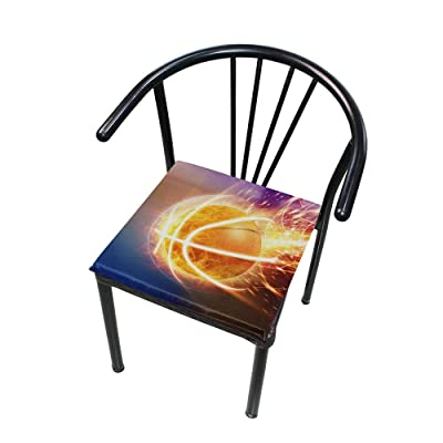 "Bardic HNTGHX Outdoor/Indoor Chair Cushion Basketball Fire Pattern Square Memory Foam Seat Pads Cushion for Patio Dining, 16"" x 16"": Home & Kitchen"