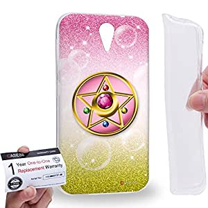 Case88 [HTC Desire 620] Gel TPU Carcasa/Funda & Tarjeta de garantía - Sailor (Series Moon) Compact Case Star Art1422