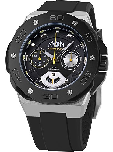 Men's Italian Designed M.O.M.Winner Chrono Stainless Steel , Black Dial with Yellow Accents and Black Silicone Rubber Accents Quartz Chronograph Watch PM7110-12