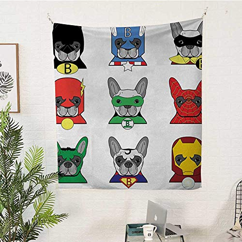 sunsunshine Superhero Pattern Tapestry Bulldog-Superheroes-Fun-Cartoon-Puppies-in-Disguise-Costume-Dogs-with-Masks-Print Big Tapestry 60W x 80L INCHMulticolor