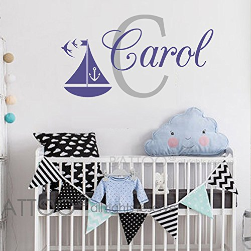 - BATTOO Sailboat Name Decal Ship Anchor Decor - Personalized Name Wall Decal Boy - Underwater Wall Decal - Nautical Name Wall Decal Baby Boy Nursery
