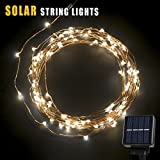 Solar String Lights, Oak Leaf 120 LEDs Outdoor Solar Powered LED String Lights Waterproof Copper Wire Lights for Garden Home Party 800mA Capacity,19ft