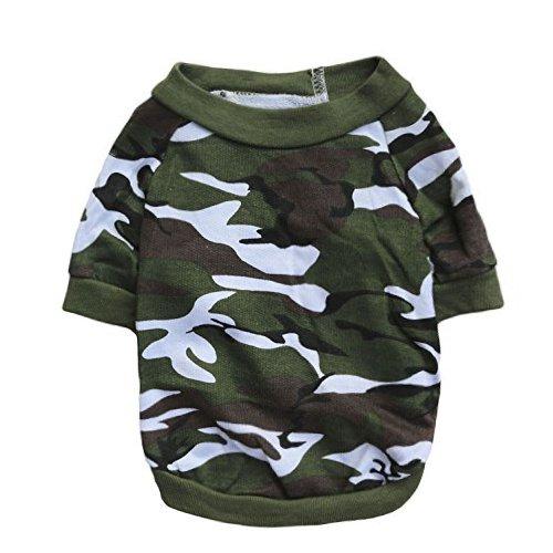 (DroolingDog Small Dog Shirt Dog Clothes Camo Dog T-Shirt, Large, Green)