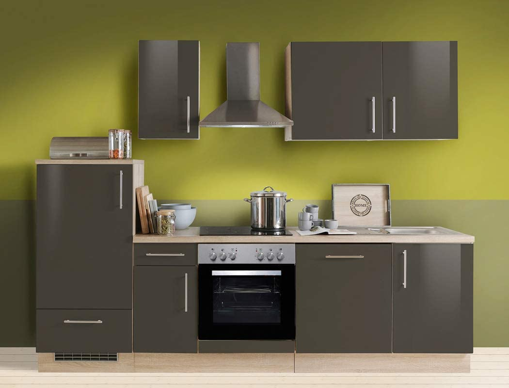 expendio Unico - Bloque de Cocina (270 cm, Lava, Acabado Brillante, con lavaplatos, eléctrico, Roble Sonoma): Amazon.es: Juguetes y juegos