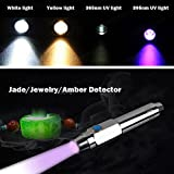 Zehui Rechargeable LED Flashlight Torch Lamp Stainless Steel Jewelry Jade Agate Detector Identification Lights Yellow Light + Purple Light