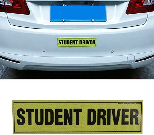 buyinhouse 1 Piece Student Driver Safety Sign Vehicle Bumper Decal Sticker for The Novice or Beginner - Hight Reflective Vehicle Car Bumper Sign Decal Sticker(12x3 Student Driver)