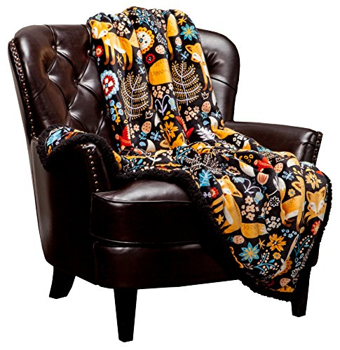 Chanasya Gold Fox Lush Nature Vibrant Color Print Decorative Fleece Throw Blanket - Super Soft Cozy Snuggly Luxurious Chick Plush Sherpa for Bed Couch Sofa Chair Office (50 x 65 Inches) - Black -