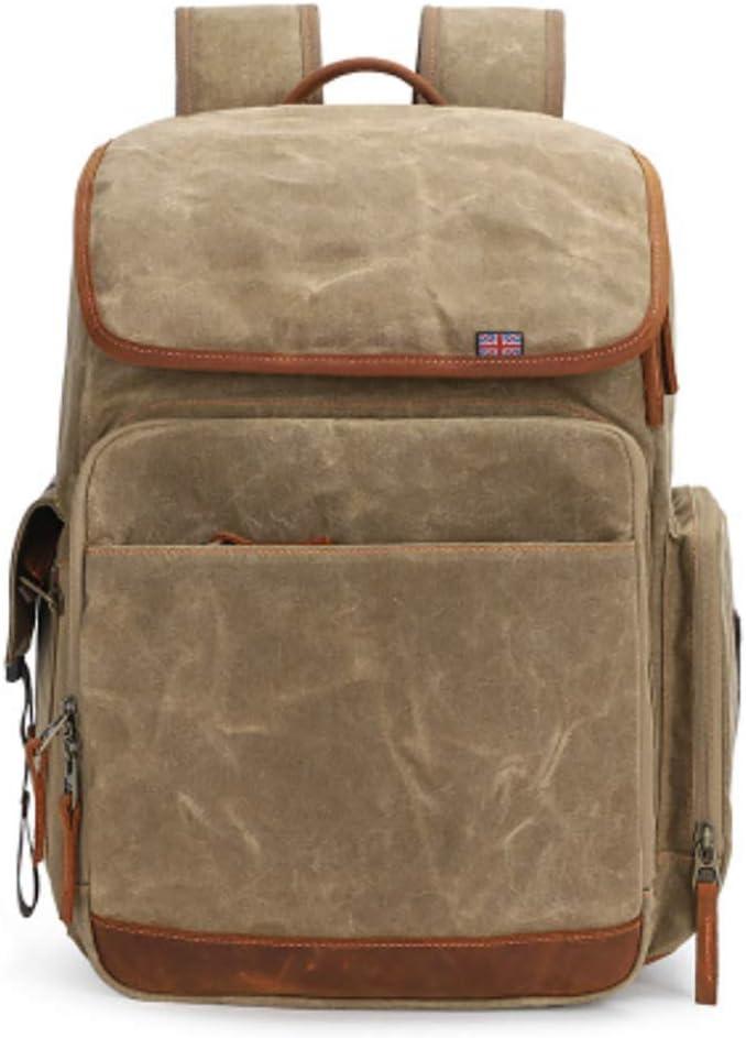Binglinghua Vintage Camera Photography Backpack Waterproof Leather Canvas Bag Large Space-BLHTYC6997 Khaki
