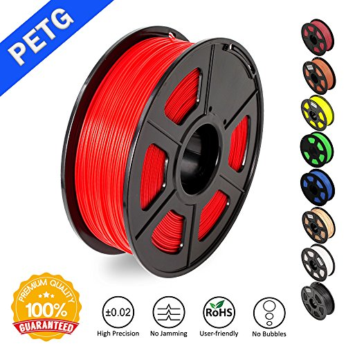 SUNLU 1.75mm PETG Red 3D Printer Filament, Dimensional Accuracy +/- 0.02mm, 2.2 LBS (1KG) Spool,1.75 mm PLA 3D Filament for Most 3D Printer & 3D Printing Pen, PETG Red