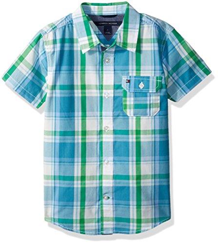 Tommy Hilfiger Boys' Little Short Sleeve Plaid Woven Shirt, Blue Moon, 6