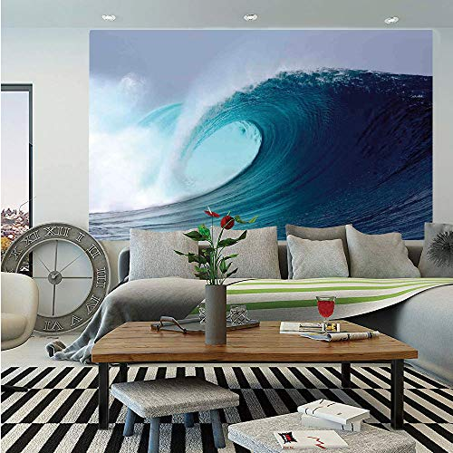 Ocean Decor Wall Mural,Tropical Surfing Wave on a Windy Sea Indonesia Sumatra Decorative,Self-Adhesive Large Wallpaper for Home Decor 55x78 inches, -
