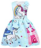 AmzBarley Girls Unicorn Dress up Costume Kids Sleeveless Princess Party Dresses Halloween Birthday Fancy Dress Blue 120/6