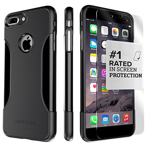 iPhone 8 Plus and 7 Plus Case, SaharaCase Protective Kit Bundled with [ZeroDamage Tempered Glass Screen Protector] Rugged Slim Fit Shockproof Bumper [Hard PC Back] Protection - Black