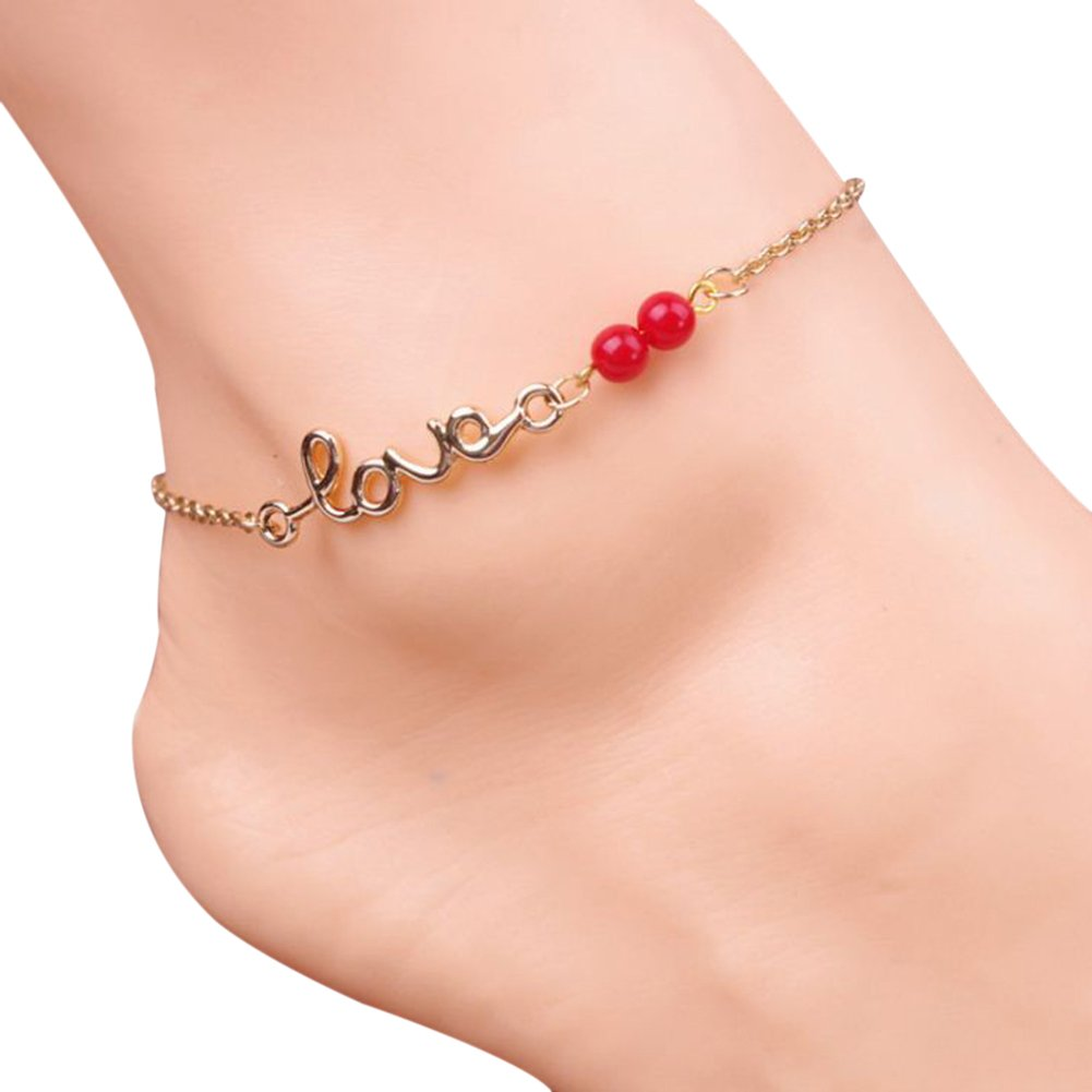 Billty Wild Anklet New Summer Fashion Beach Accessories Summer Wild Letters LOVE Transit Red Beads Ornaments Anklets Beach Women 1-PCS