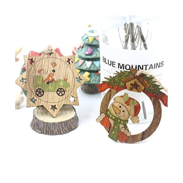 Set di decorazioni per alberi di Natale,12 pezzi in legno carino ornamenti per lavagna con pendente pendente con corde,3 pollici Modello di pupazzo di neve retrò di Babbo Natale per la decorazione 7 spesavip