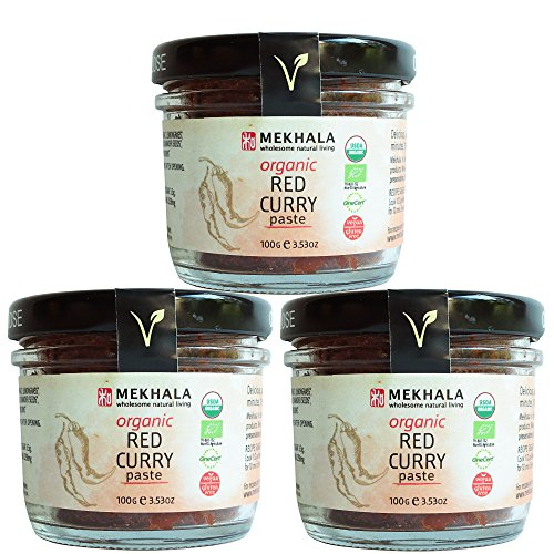 Mekhala Organic Gluten Free Thai Curry Paste Value Pack (3x3.5oz) (Red)