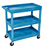 Luxor/H.Wilson 32'' x 18'' Tub Cart, Three Shelves (EC111-BU)