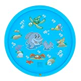 Yamalans Cute Cartoon Kids Children Spray Water Play Mat Inflatable Outdoor Sprinkler Pad Portable Camping Pad Mat Air Mattress Lightweight Light Blue 150cm