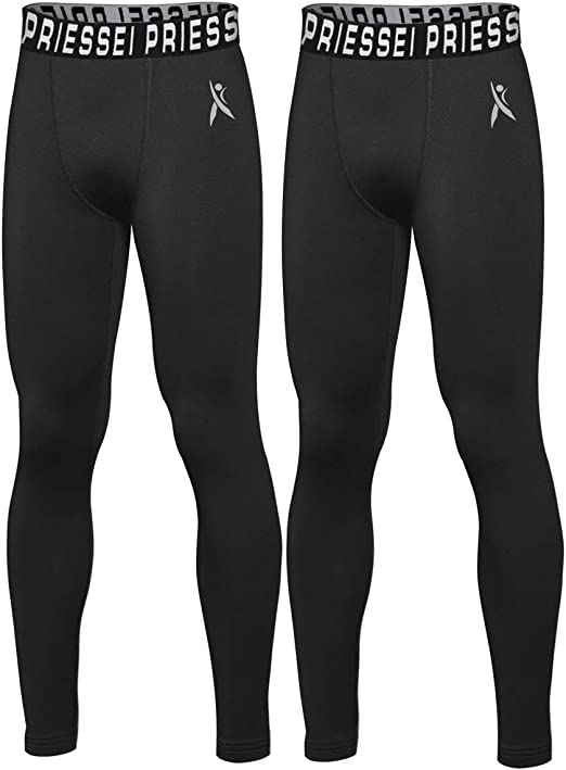 Priessei Youth Compression Pants Boys Leggings Sports Running Basketball Tights Base Layer Football