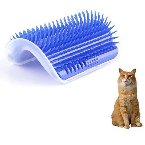 Bestanx 2.0 Cat Self Groomer Wall Corner Massage Comb with Catnip, Perfect Massager Tool for Cats with Long & Short Fur (Blue)