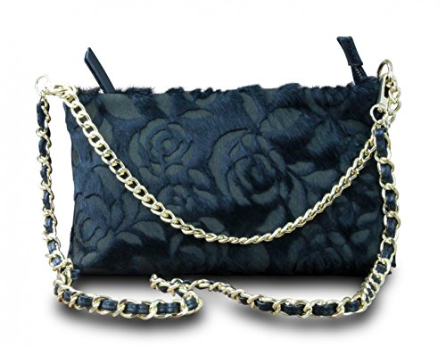 à vintage rétro collier rose italy véritable de main cross sac Made soirée noir bag sac body in bella cuir en AYqBwB