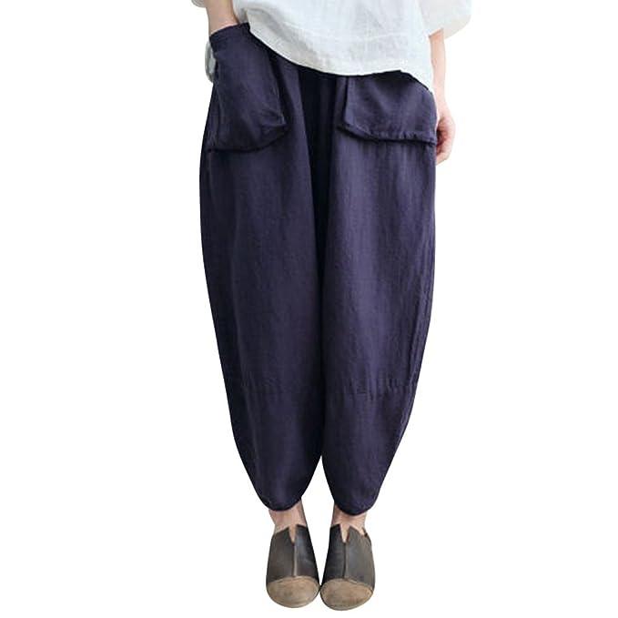 735fa1e5ac21 SOMESUN Pantaloni Harem Pantaloni Larghi Elastici Casual a Vita Alta Bassa  Righe Da Donna Corti Sezione