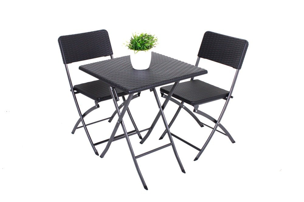 3tlg balkon set garten tisch stuhl klapptisch klappstuhl st hle rattan optik kaufen. Black Bedroom Furniture Sets. Home Design Ideas
