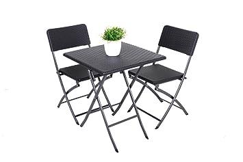 3 piezas. Balcón Juego mesa de jardín silla plegable silla ...