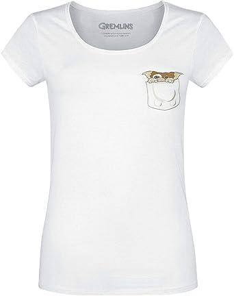 Gremlins Camiseta de Mujer Pocket Gizmo Algodón Blanco: Amazon.es ...