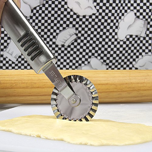 """Pastry Ravioli Pizza Cutter by Topenca 9"""" Kitchen Gadget Features Dual Stainless Steel Wheels for Commercial-Grade Pasta Pie Crusts and Baking in Your Home Kitchen by Topenca Supplies (Image #2)"""