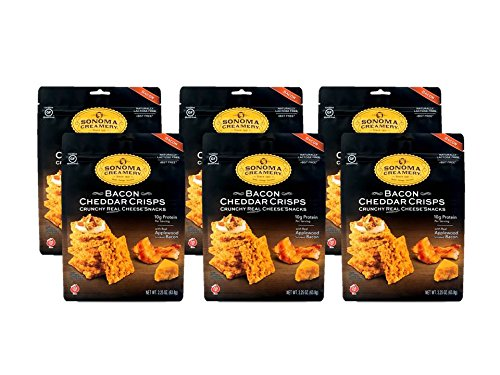 Sonoma Creamery Cheese Crisps - Bacon Cheddar 6 Count Pack Savory Real Cheese Snacks High Protein Low Carb Gluten Free Wheat Free (2.25 Ounces)