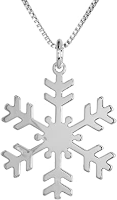 Sterling Silver Polished Snowflake Pendant Solid Pendants /& Charms Jewelry