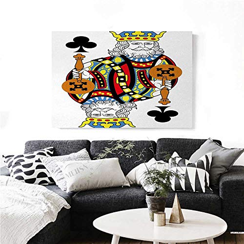 King Modern Canvas Painting Wall Art King of Clubs Playing Gambling Poker Card Game Leisure Theme Without Frame Artwork Art Stickers 36