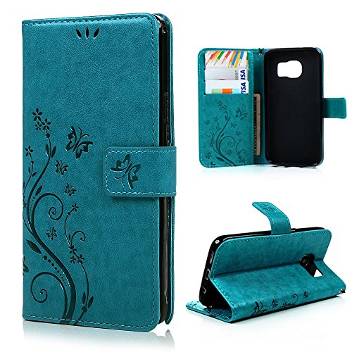 Galaxy S6 Plus Edge Wallet Case,LW-Shop for Samxung Galaxy S6 Plus Edge PU Leather Case [Built-in Credit Card Slots] Magnetic Design Flip Folio Cover with Flower Butterfly ()