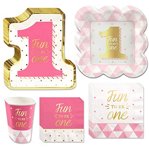 Big Dot of Happiness Fun to be One - 1st Birthday Girl with Gold Foil - Party Tableware Plates, Cups, Napkins - Bundle for 16 -