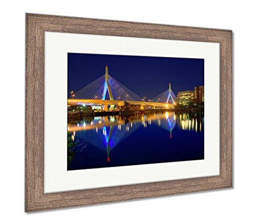 Ashley Framed Prints Boston Zakim Bridge Sunset in Bunker Hill Massachusetts USA, Wall Art Home Decoration, Color, 30x35 (Frame Size), Rustic Barn Wood Frame, AG5444125