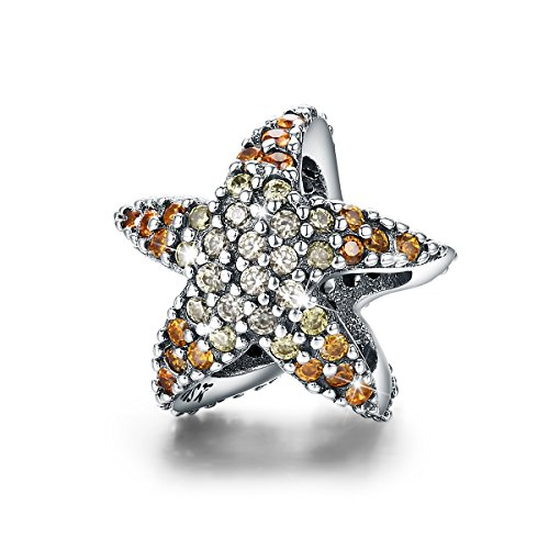 Silver Story of Ocean Starfish Beads Charm fit Original Charm Bracelet ()
