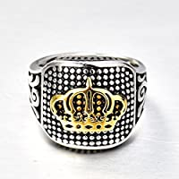 sirimongkol Fashion Gold King Crown Silver Stainless Steel Mens Wedding Band Ring Jewelry (8)