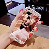 """iPhone 7 Case,iPhone 7 Glitter Case,IKASEFU Luxury Crystal Rhinestone Soft Silicone Rubber Bumper Bling Diamond Glitter Mirror Makeup Case Cover with Bear Ring Stand Holder for iPhone 7 4.7""""-Rose Gold"""