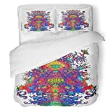 SanChic Duvet Cover Set Blue Psychadelic Psychedelic Mushroom Dance Digital Abstract Acid Decorative Bedding Set with 2 Pillow Shams King Size