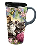 "Cypress Home Kittens in the Flowers 17 oz Boxed Ceramic Perfect Travel Coffee Mug or Tea Cup with Lid - 3""W x 5.25'' D x 7'' H"