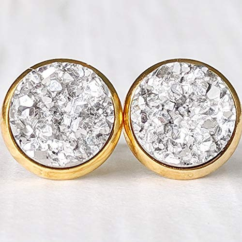 Two Tone Silver on Gold Hypoallergenic Posts Resin Druzy Stud Earrings