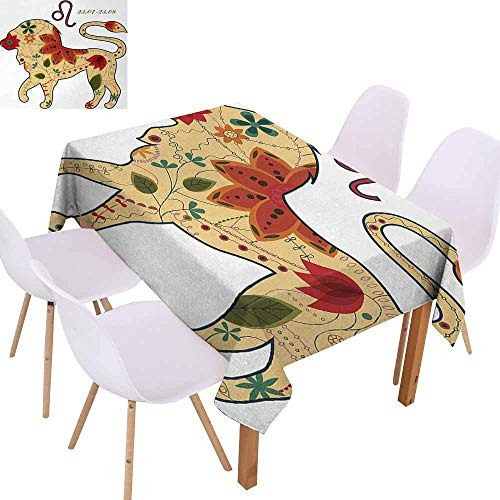 - UHOO2018 Astrology,Picnic Tablecloth,Oriental Retro Floral Astrology Walking Leo Colorful Sun Sign King Art Design,for Wedding/Banquet/Restaurant,Multicolor,70