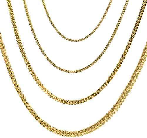 Joule Shop 10K Hollow Yellow Gold Franco Chain 3MM Width Linked Necklace or Linked Bracelet With Lobster Clasp 18