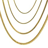 Kyпить Joule Shop 10K Hollow Yellow Gold Franco Chain 3MM Width Linked Necklace or Linked Bracelet With Lobster Clasp 18